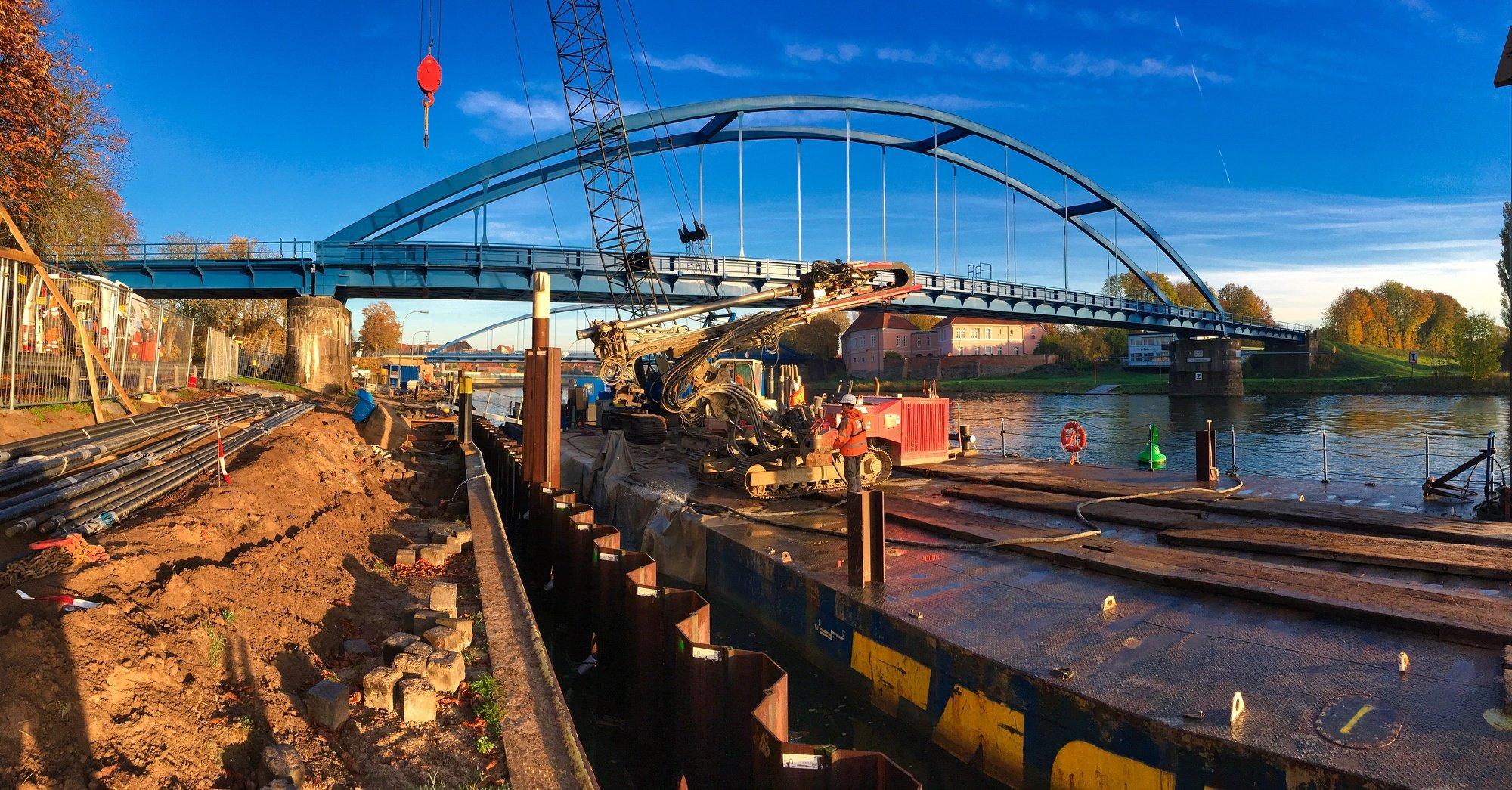 Ausbau einer Liegestelle an der Weser. Rückverankerung der Spundwand